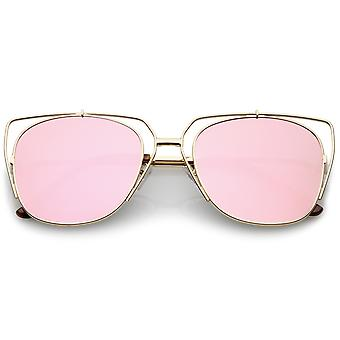 Women's Open Metal Cat Eye Sunglasses With Mirrored Flat Lens And Slim Arms 55mm