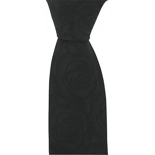 David Van Hagen Wedding Rose Silk Tie - Black