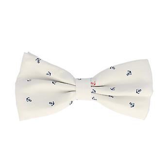 Snobbop-bound fly white anchor loop cotton bow tie