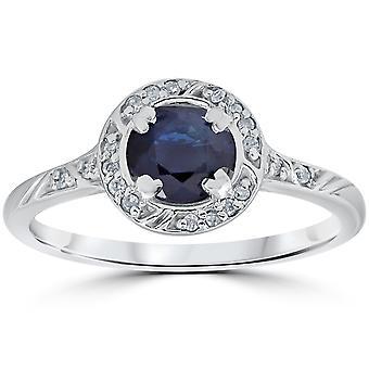 1 1/6ct Blue Sapphire Vintage Diamond Engagement Ring 14K White Gold