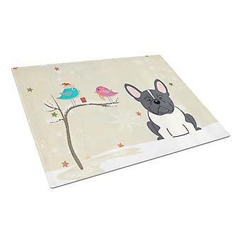 Christmas Presents between Friends French Bulldog Black White Glass Cutting Boar