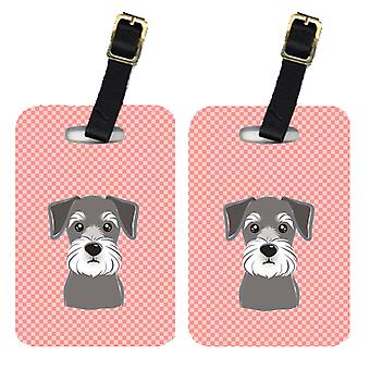 Carolines Treasures  BB1206BT Pair of Checkerboard Pink Schnauzer Luggage Tags
