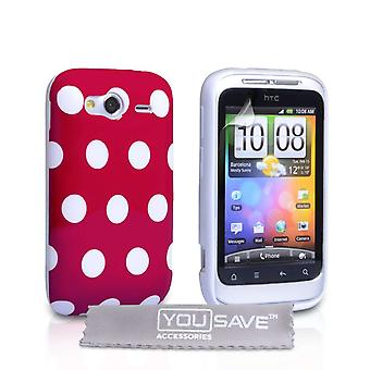 Yousave Accessories HTC Wildfire S Polka Dot Gel Case - Red
