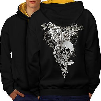 Total Coolest Skull Men Black (Gold Hood)Contrast Hoodie Back | Wellcoda