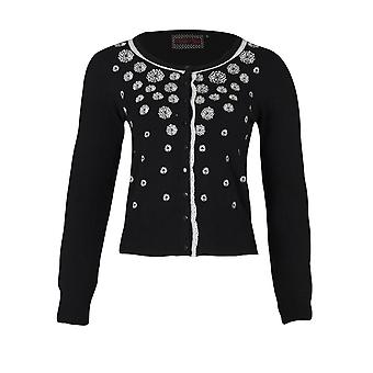 Voodoo Vixen - WHITE FLOWER CASCADE - Womens Cardigan - Black