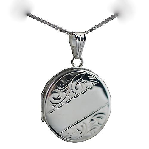 Silver 23mm engraved flat round Locket with Curb chain