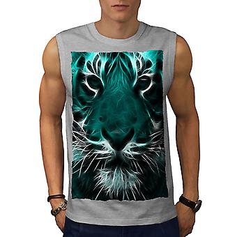 Tiger möta vilda djur män GreySleeveless T-shirt | Wellcoda