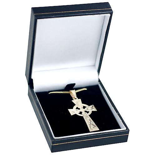 9ct Gold 44x26mm hand engraved knot pattern Celtic Cross with bail on a curb Chain 16 inches Only Suitable for Children