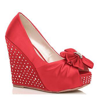 Ajvani womens high wedge heel wedding evening bridal party diamante peep toe court shoes sandals