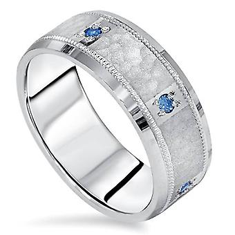 Mens blauwe diamant gehamerd Ring 14 K White Gold