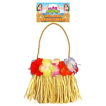Hawaiian Hula Beach Straw Bag with Flowers Fancy Dress Accessory