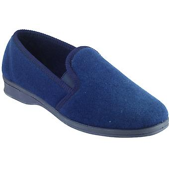 Mirak Mens Shepton Slip-On Elasticated Textile Slipper Navy