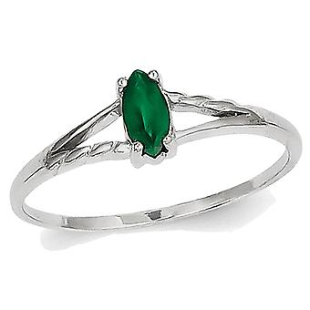Natural Green Emerald Ring 1/4 Carat (ctw) in 14K White Gold