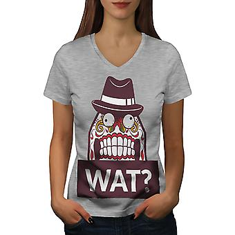 Skull What Funny Women GreyV-Neck T-shirt | Wellcoda