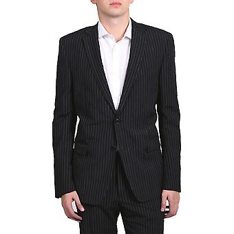 Versace Collection Men's Pinstripe Two-Piece Viscose Suit Black/White
