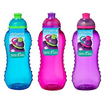 3 Sistema 330ml Twist n Sip Drink Bottles, Blue, Pink, Purple