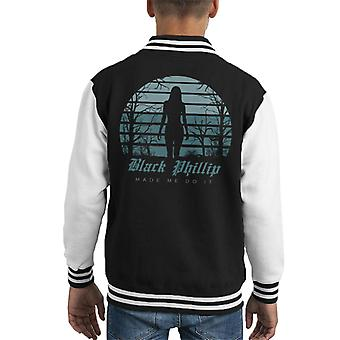 Schwarzen Phillip Made Me Do It The Witch Kid Varsity Jacket