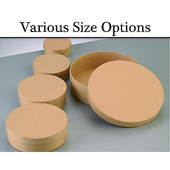 Paper Mache Round Flat Boxes with Lids to Decorate