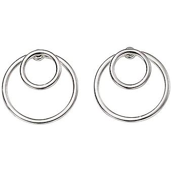 Beginnings Circle Front and Back Drop Earrings - Silver
