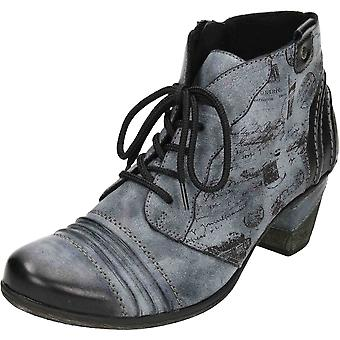 Remonte Brown Lace Up Zip Mid Heel Cushioned Metallic Combination Ankle Boots D8771