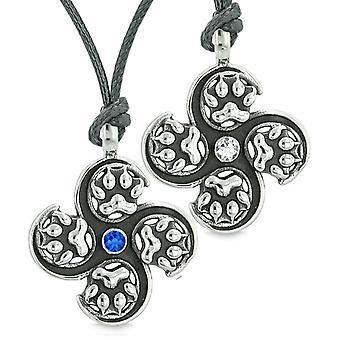 Übernatürliche Wolf Pfote Amulett Kräfte Liebe Paare Beste Freunde weiße blaue Kristalle Halsketten