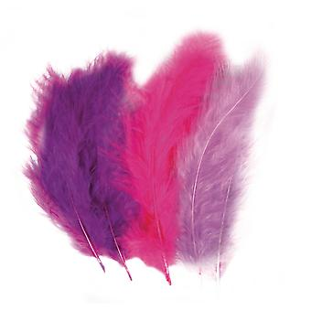 15 Mixed Purple Fluffy Craft Feathers | Scrapbooking Card Making Embellishments