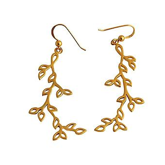 Gemshine - ladies - Orecchini - argento 925 - oro placcato - Lotus Blossom leaves - foglie - 6,5 cm