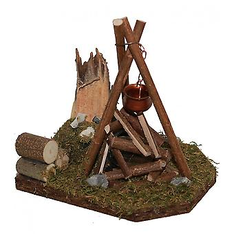 Campfire tripod Flacker light with boiler Nativity accessories for Nativity scene Christmas crib