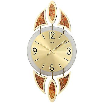 Wall clock clock quartz mineral glass with decorative metal pads
