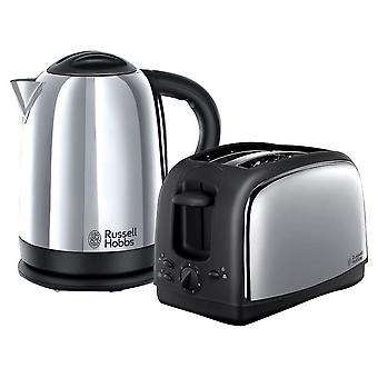 Russell Hobbs 21830 Lincoln Twin Pack - Polished Kettle & 2 Slice Toaster Set
