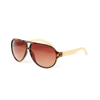 Colin Leslie Unisex Aviator Sunglasses Tortoise Frame Bamboo Arms With Brown Lens