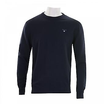 GANT Gant Mens Super Fine Lambswool Crew Neck Knit Sweater (Navy)