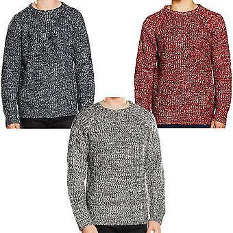 Brave Soul Mens Dawkins 3 Colour Twist Knit Crew Neck Sweater Jumper Top