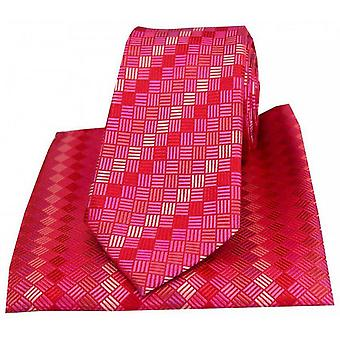 Posh and Dandy Box Pattern Tie and Pocket Square Set - Red/Pink