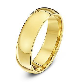 Star Wedding Rings 9ct Yellow Gold Heavy Court Shape 6mm Wedding Ring