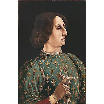 Portrait of Galeazzo Maria Sforza, by Piero pollaiolo 40x60cm with tray