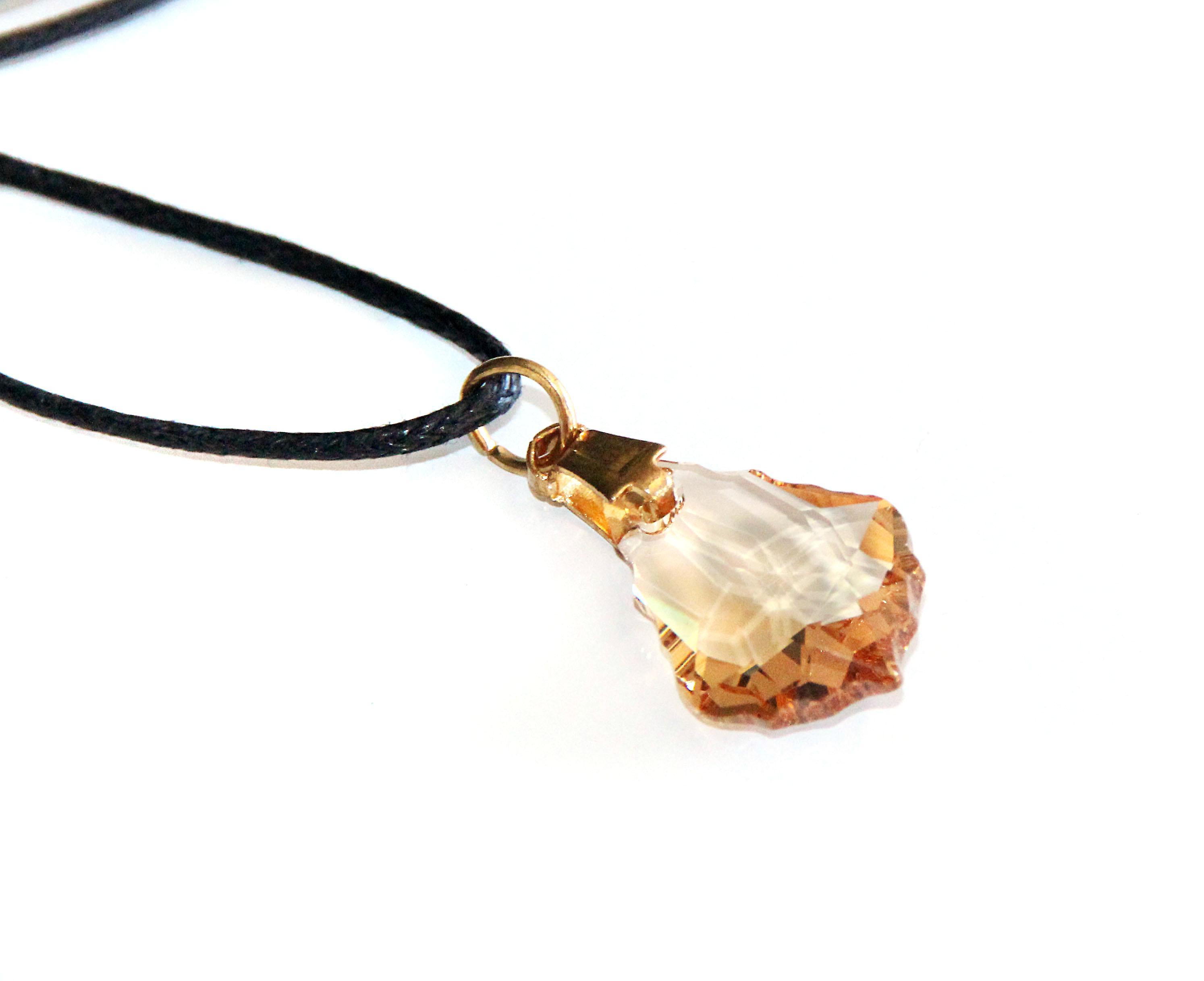 Waooh - smycken - Swarovski / hänge riva amber och sladd vaxad - små