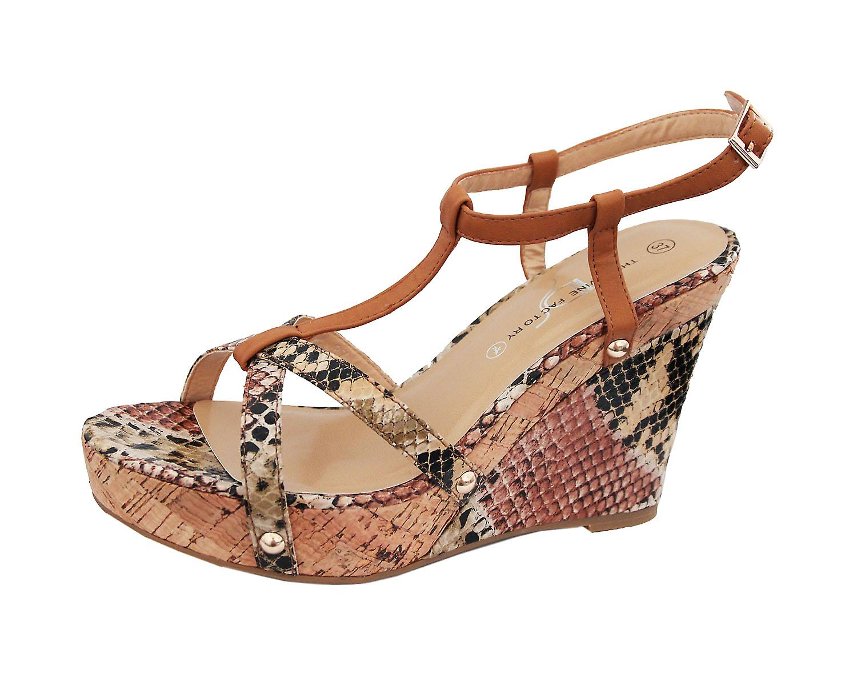 Waooh - Sandale Compensée Effet Croco Mirea