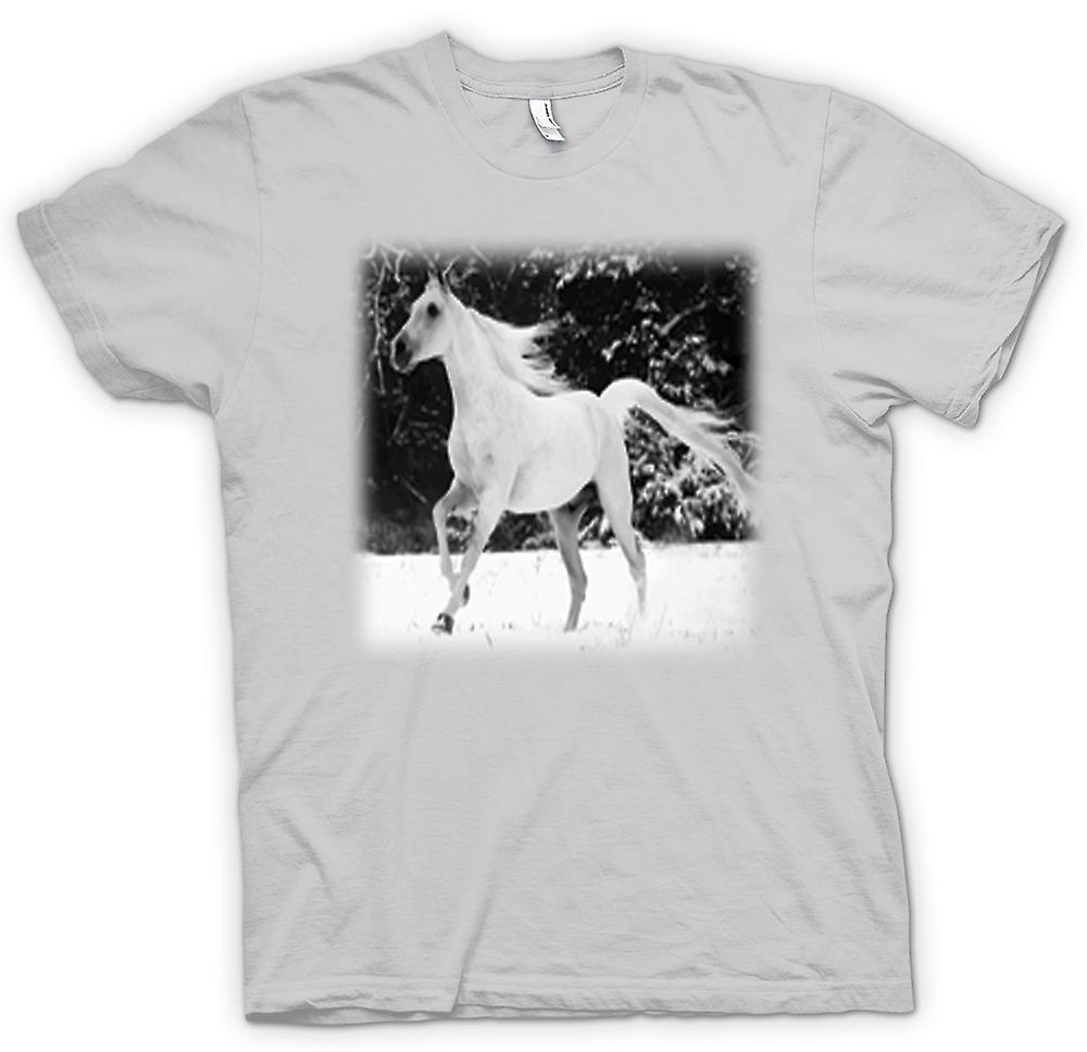 Mens T-shirt - & blanc Running Horse conception