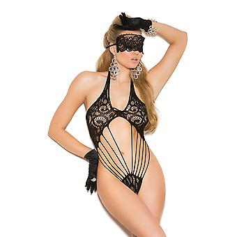 Womens Lace Teddy Bodyuit and Lace Eye Mask Romper Lingerie Set