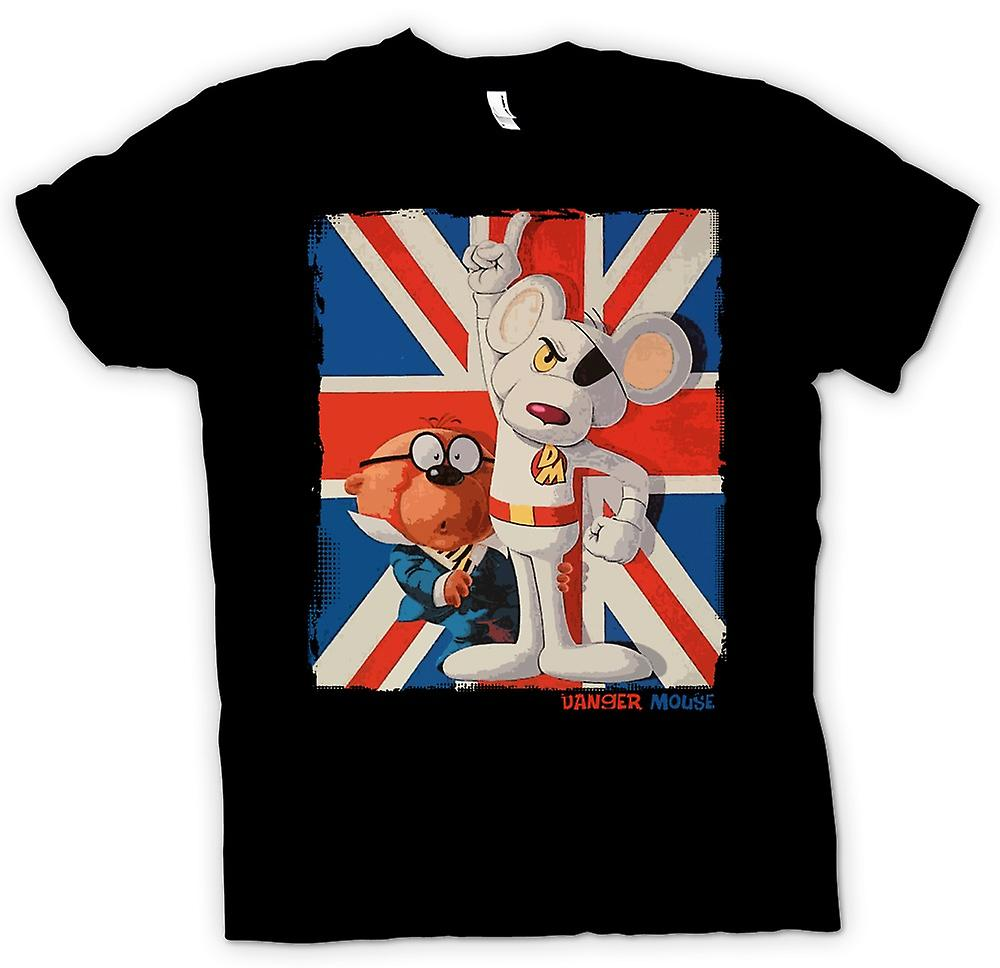 Womens T-shirt-Danger Mouse och Penfold - Union Jack - Retro