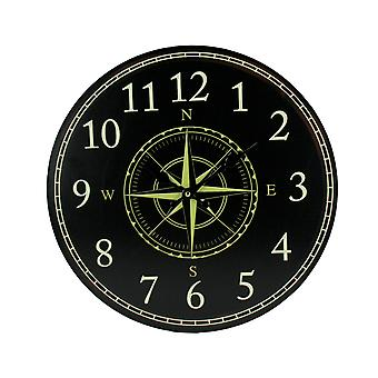 Black and White Compass Rose Round Wall Clock