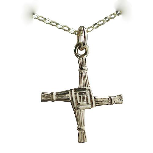 9ct Gold 22x22mm St Bernardette Cross with a belcher chain