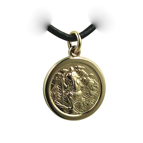 14ct Yellow gold on Silver 20mm round St Christopher Pendant with a Leather Pendant Cord 20 inches