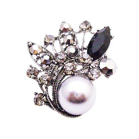Gray Pearl & Black Diamond Crystals Silver Casting Vintage Brooch Gift