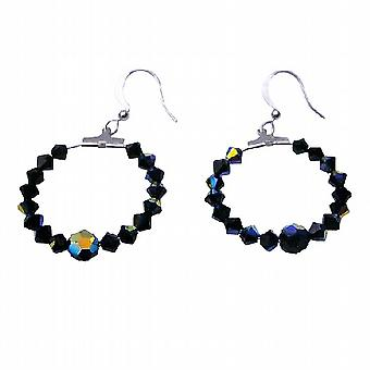 Jet Black Swarovski AB Jet & Jet Crystal Hoop Crystal Earrings