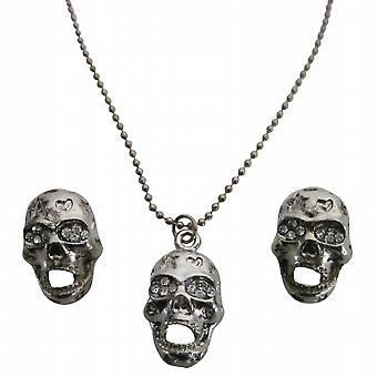 Skull Pendant Necklace Earrings Set Halloween Jewelry Affordable Gift