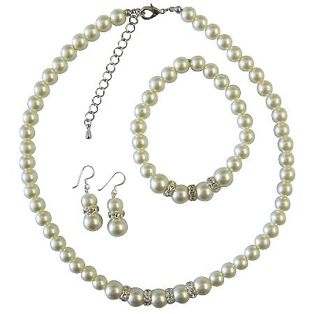 Bridal Bridesmaid Wedding Ivory Pearl Jewelry Set W/ Silver Diamante Saprkling Gorgeous Pearl Complete Set