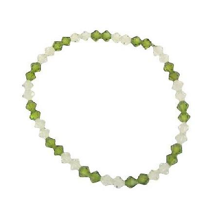 Crystals Stretchable Bracelet Swarovski Clear Peridot Jewelry