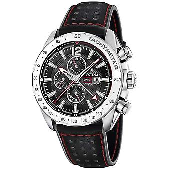 Festina | Mens Chronograph & Dual Time | Black Dial | Leather Strap F20440/4 Watch